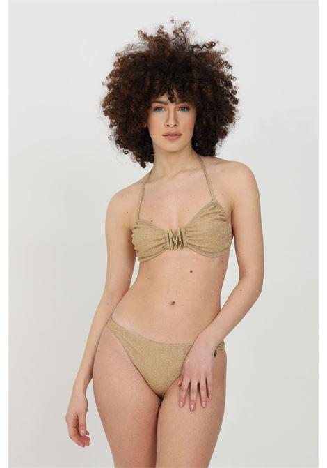 Beachwear costume donna oro moschino top mare con logo frontale in metallo. Tessuto in lurex e chiusura sul retro MOSCHINO   Beachwear   V573221010606