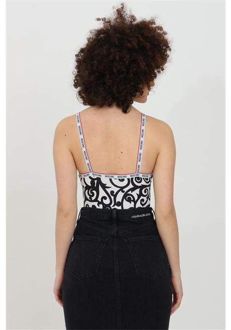 Body donna bianco-nero moschino casual con stampa minimal paisley. Chiusura con ciappe. Modello slim MOSCHINO | Body | V602190291001