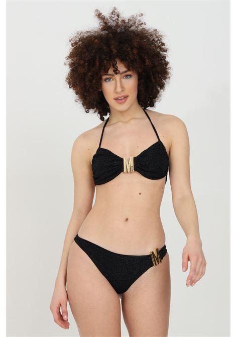Black sea slip with metal logo. Lurex fabric. Moschino MOSCHINO | Beachwear | V713021010555