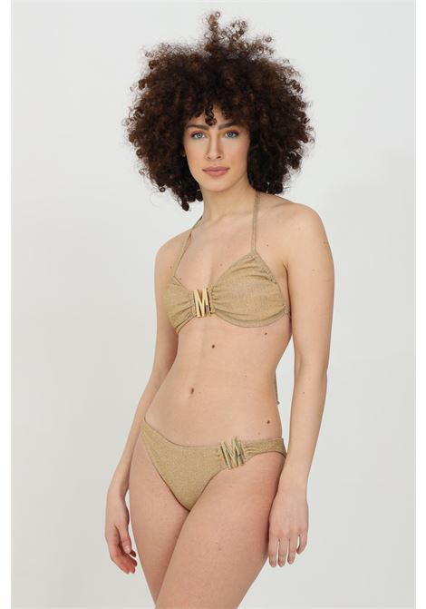 Gold sea slip with metal logo. Lurex fabric. Moschino MOSCHINO | Beachwear | V713021010606