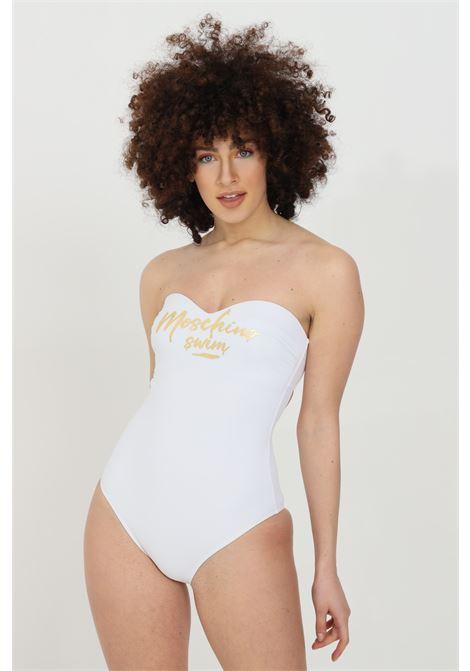 White one piece swimsuit with heart neckline and gold logo. Interlocking closure. Moschino MOSCHINO | Beachwear | V811151690001