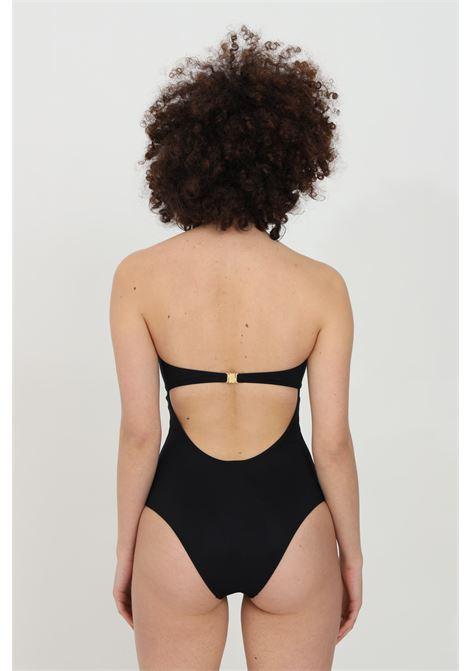 Black one piece swimsuit with heart neckline and gold logo. Interlocking closure. Moschino MOSCHINO | Beachwear | V811151690555