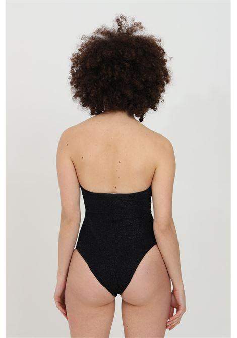 Black one piece swimsuit with light gold metal logo. Metallic fiber fabric and central cut. Moschino MOSCHINO | Beachwear | V811921010555