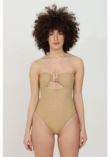 Gold one piece swimsuit with light gold metal logo. Metallic fiber fabric and central cut. Moschino MOSCHINO | Beachwear | V811921010606