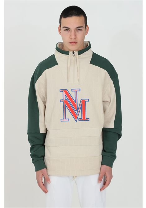 Beige-green sweatshirt with half zip and laces with drawstring. Color block patch, front embroidered logo. Over size model, Ribbed weft. Napapijri NAPAPIJRI BY MARTINE ROSE | Sweatshirt | NP0A4FGXNR2