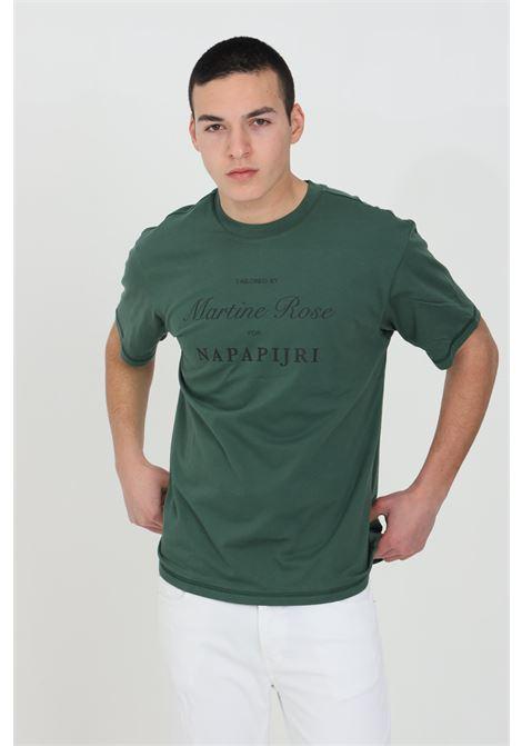 Green martin rose t-shirt, basic model with short sleeves, elastic crew neck in ribbed weft. Comfortable model. Front print. Napapijri NAPAPIJRI BY MARTINE ROSE | T-shirt | NP0A4FGZGR5