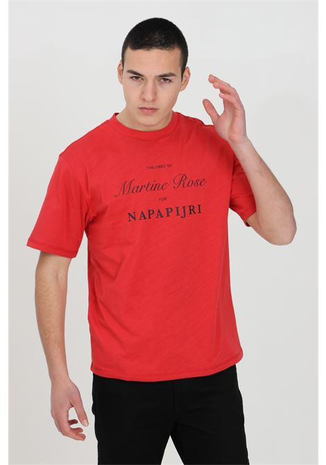 Red martin rose t-shirt, basic model with short sleeves, elastic crew neck in ribbed weft. Comfortable model. Front print. Napapijri NAPAPIJRI BY MARTINE ROSE | T-shirt | NP0A4FGZRR5