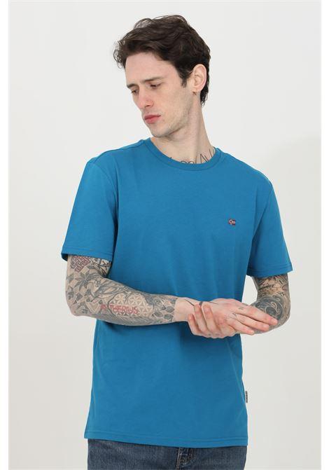 T-shirt uomo azzurro napapijri a manica corta in tinta unita con mini logo frontale a contrasto. Modello comodo NAPAPIJRI | T-shirt | NP0A4EW8BC91BC91