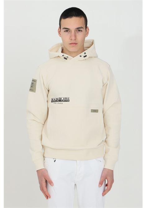 Cream Ohau hoodie with front logo in contrast and elastic cuffs and bottom. Napapijri NAPAPIJRI | Sweatshirt | NP0A4F38NA91NA91