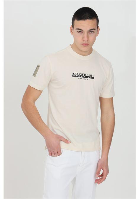 Cream t-shirt with front logo, basic model, short sleeve. Napapijri NAPAPIJRI | T-shirt | NP0A4F3ANA91NA91
