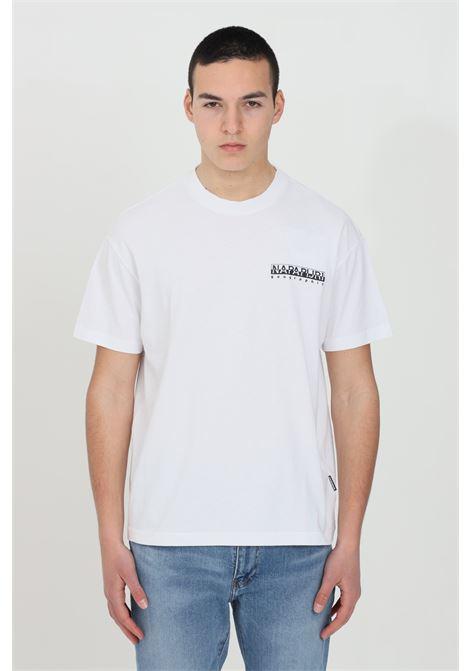 White jurassic t-shirt with crew neck and maxi logo print on the back, short sleeve. Napapijri NAPAPIJRI | T-shirt | NP0A4F5K00210021