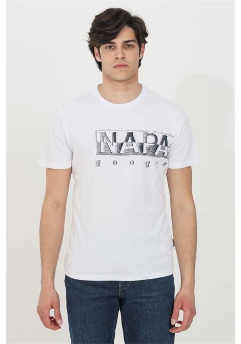 White sallar logo t-shirt with logo print on the front, short sleeve. Ribbed crew neck. Napapijri NAPAPIJRI | T-shirt | NP0A4F9N00210021