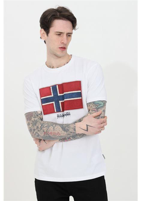 T-shirt uomo bianco napapijri a manica corta con stampa frontale. Modello comodo NAPAPIJRI | T-shirt | NP0A4F9R00210021