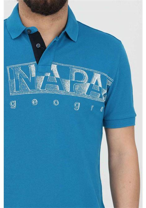 Polo uomo azzurro napapijri modello basic con stampa logo frontale, colletto a maglia liscia NAPAPIJRI | Polo | NP0A4FA4BC91BC91