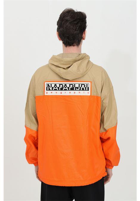 Beige-orange wind jacket with concelead zip. Mesh pocket on the front, Interior mesh and elasticated hem. Napapijri NAPAPIJRI | Jacket | NP0A4FBL8M918M91