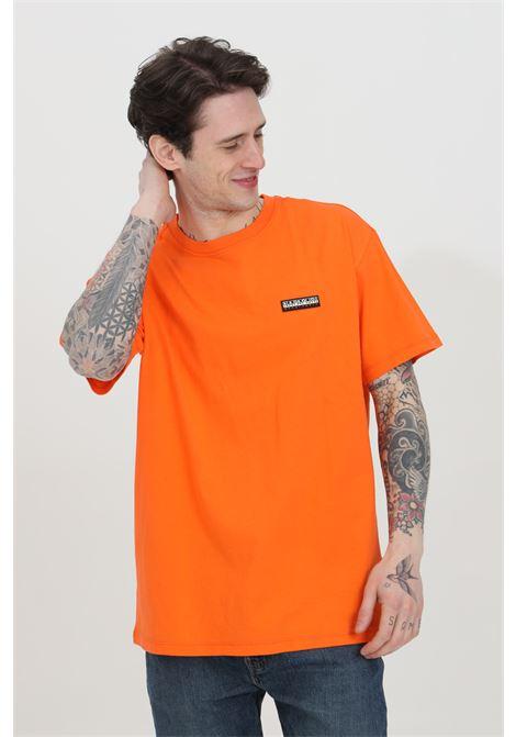 T-shirt uomo arancio napapijri a manica corta in tinta unita con logo frontale a contrasto, modello comodo NAPAPIJRI | T-shirt | NP0A4FG8A1A1A1A1