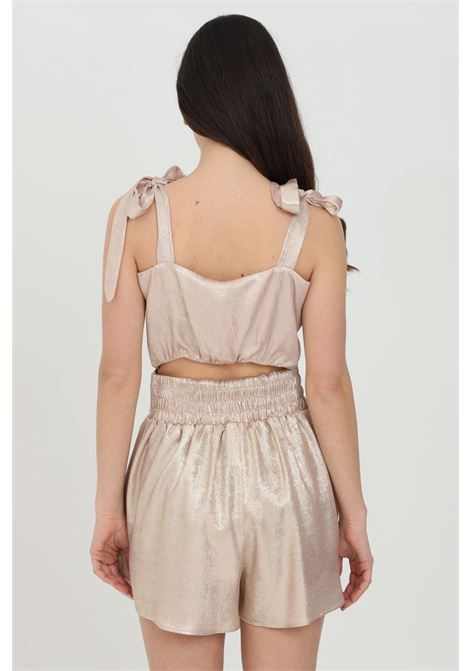 Cream top with bow on the front and closures on the shoulders. Short model. Nbts NBTS | Top | NB21006CREMA