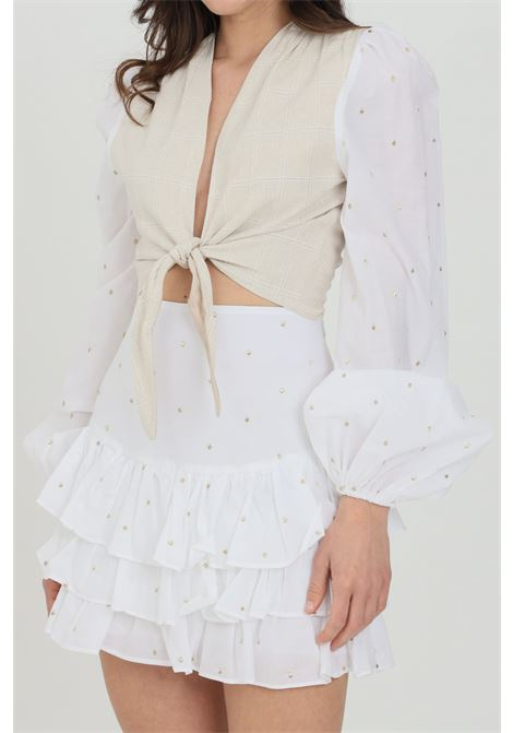Cream top with front closure with bow. Elastic cuffs and gold embroidery. Nbts NBTS | Top | NB21009.