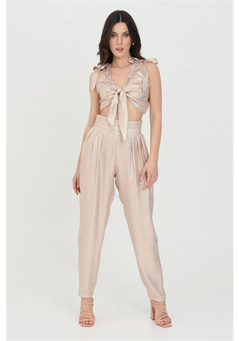 Pantalone donna crema nbts casual laminati modello balloon. Vita alta elastica senza passanti NBTS | Pantaloni | NB21013CREMA