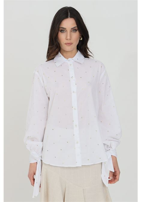 White shirt with gold polka dot embroidery, front closure with buttons and cuffs closure with bow. Nbts NBTS | Shirt | NB21017BIANCO