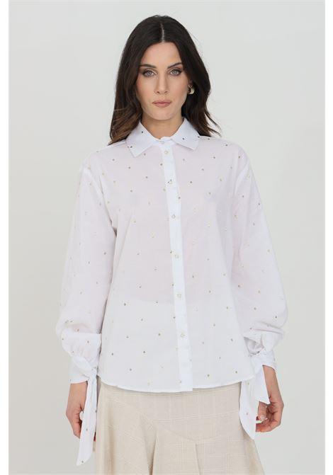 Camicia donna bianca nbts casual con ricami gold a pois, chiusura frontale con bottoni e chiusura polsini con fiocco NBTS | Camicie | NB21017BIANCO