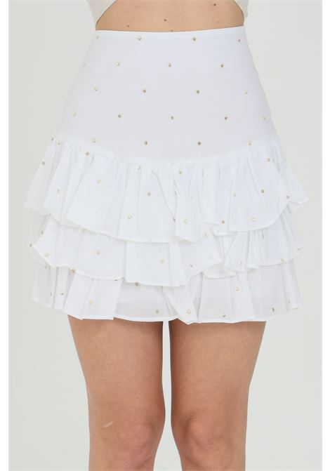 White skirt with flounces on the bottom and gold embroidery applications, side zip closure. Nbts NBTS | Skirt | NB21018BIANCO