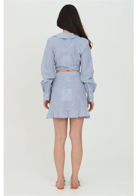 Light blue skirt with flounces and cross closure with bow. Nbts NBTS | Skirt | NB21031AZZURRO