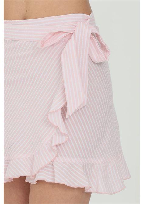 Gonna donna rosa nbts corta con balze e chiusura a incrocio con fiocco NBTS | Gonne | NB21031ROSA