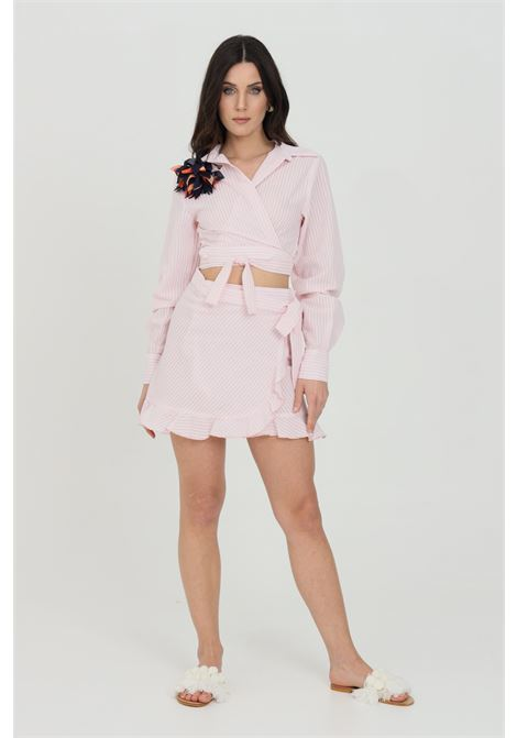Pink skirt with flounces and cross closure with bow. Nbts NBTS | Skirt | NB21031ROSA