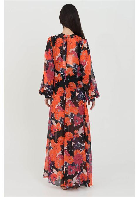 Cardigan donna fucsia multicolor nbts lungo con cintura in vita. Modello stampato a fondo dritto ampio. Maniche lunghe e polsini elastici NBTS | Cardigan | NB21033FUXIA