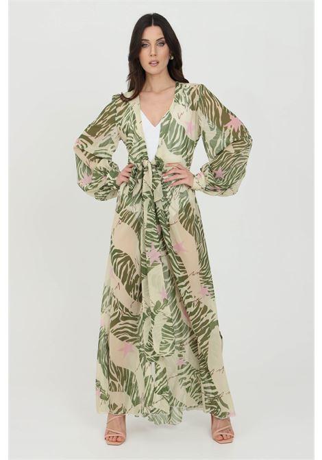 Cardigan donna verde multicolor nbts lungo con cintura in vita. Modello stampato a fondo dritto ampio. Maniche lunghe e polsini elastici NBTS | Cardigan | NB21033VERDE