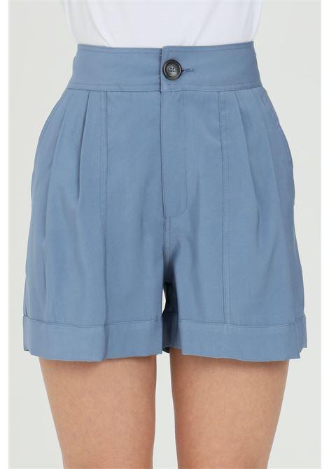 Light blue shorts with high waist, button and zip closure. Nbts NBTS | Shorts | NB21053AVION