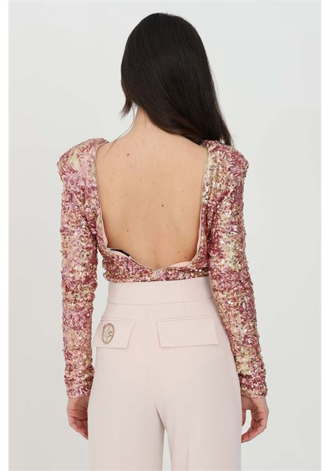 Pink body with long sleeves with sequins. Hook closure, slim model. Nbts NBTS | Body | NB21057.