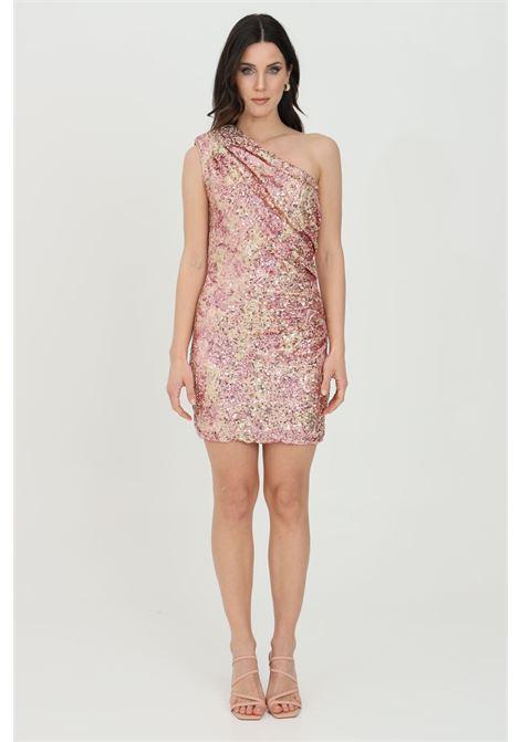 Abito donna rosa nbts corto monospalla con paillettes. Modello slim con arriccio laterale. Taglio corto aderente NBTS   Abiti   NB21058.