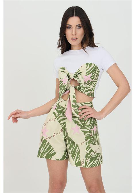 T-shirt donna bianca nbts a manica corta taglio corto con fiocco NBTS   T-shirt   NB21084.