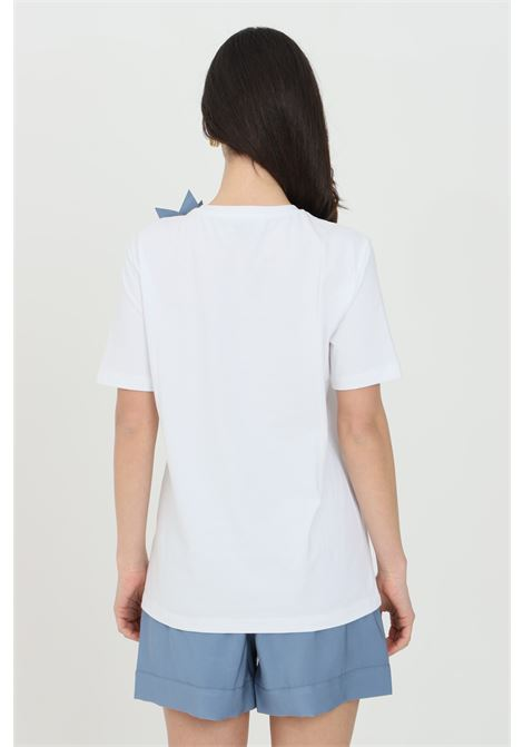 White t-shirt with short sleeves and flower application. Front print in small size. Nbts NBTS | T-shirt | NB21085BIANCO