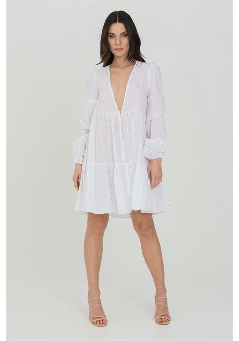 White dress with maxi neckline. Minimal polka dot print, long sleeves with elastic cuffs. Jewel button closure. Nbts NBTS | Dress | NB21095BIANCO