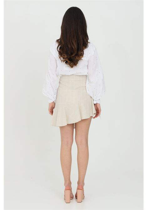 Beige skirt with fake front pockets and gold applications, side zip closure. Nbts NBTS | Skirt | NB21096.