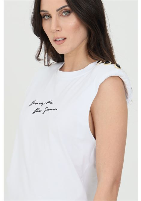 White t-shirt with shoulder strap, front logo with rhinestone and print on the back. Buttons application on the shoulders. Nbts
