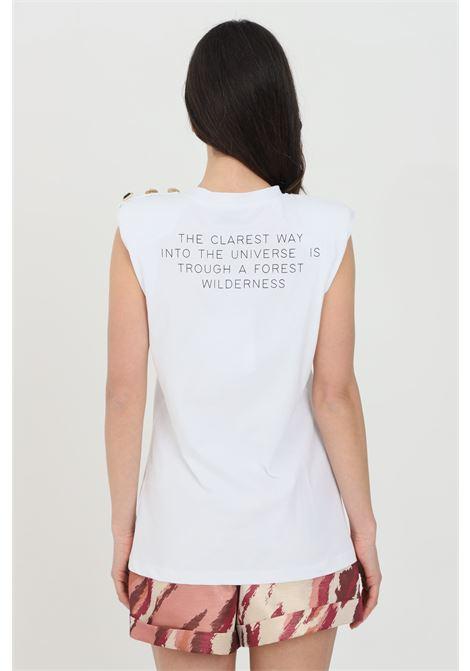 T-shirt donna bianca nbts smanicato con spalline, logo frontale con strass e stampa sul retro. Applicazione bottoni sulla spalla NBTS | T-shirt | NB21104.