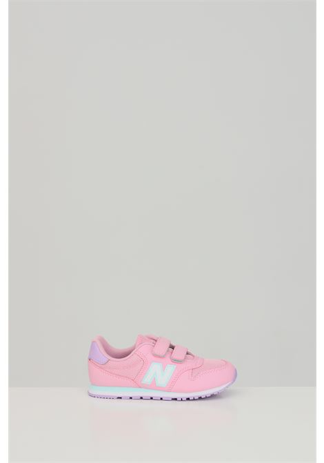 Pink sneakers in solid color with contrasting logo, velcro closure. Baby model. Brand: New Balance NEW BALANCE | Sneakers | YV500WPB..