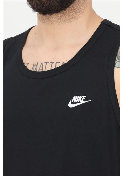 Black t-shirt with embroidered logo in contrast, sleeveless. Nike NIKE | T-shirt | BQ1260010