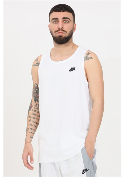 White t-shirt with embroidered logo in contrast, sleeveless. Nike NIKE | T-shirt | BQ1260100