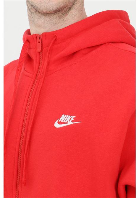 Felpa uomo rosso nike con zip frontale, cappuccio e lacci NIKE | Felpe | BV2645657