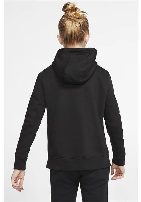 Felpa bambino/a nero Nike con cappuccio e logo frontale a contrasto NIKE | Felpe | BV2717010
