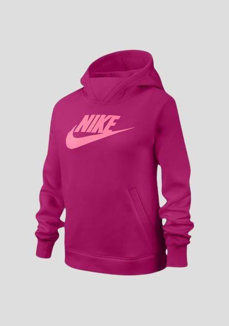 Fucsia hoodie with contrasting front logo. Baby model. Brand: Nike NIKE | Sweatshirt | BV2717615