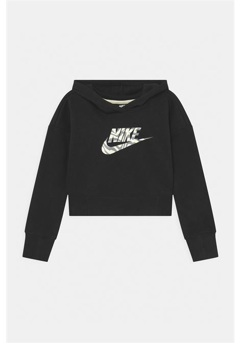 Black hoodie with maxi animalier logo on the front. Baby model. Brand: Nike NIKE | Sweatshirt | DC9763010