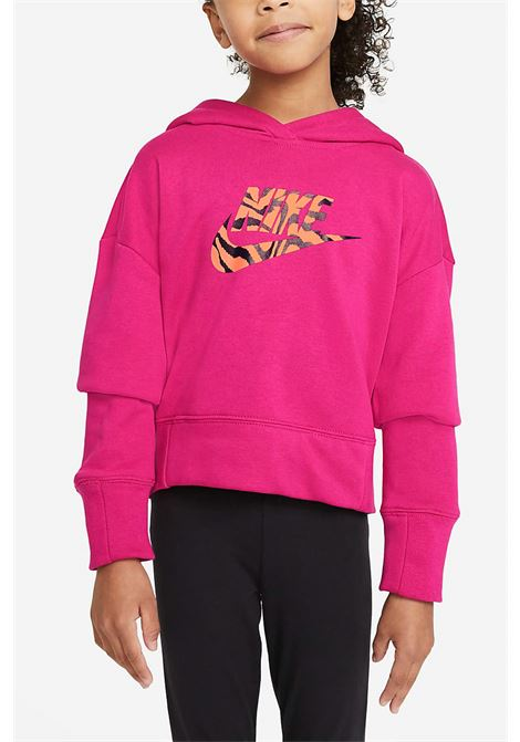 Fuchsia hoodie with maxi animalier logo on the front. Baby model. Brand: Nike NIKE | Sweatshirt | DC9763615