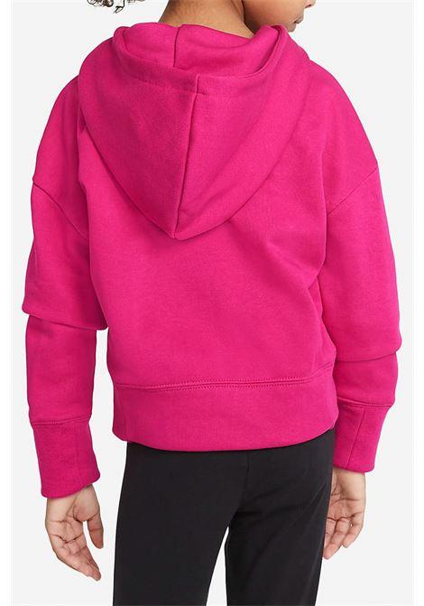 Felpa bambina fucsia Nike con cappuccio e maxi logo animalier frontale NIKE | Felpe | DC9763615