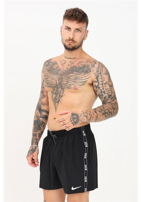 Shorts mare uomo nero nike con banda laterale logata NIKE   Beachwear   NESSA477-0011